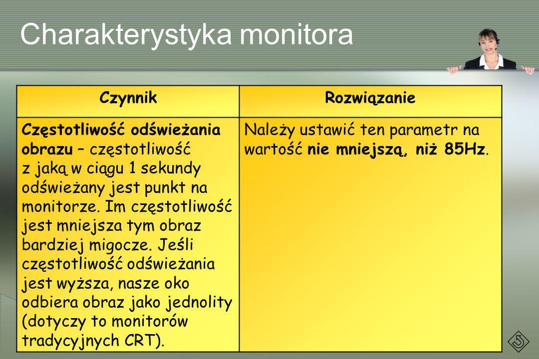 Charakterystyka monitora CzynnikRozwiązanie Częstotliwość odświeżania obrazu – częstotliwość z jaką w ciągu 1 sekundy odświeżany jest punkt na monitor