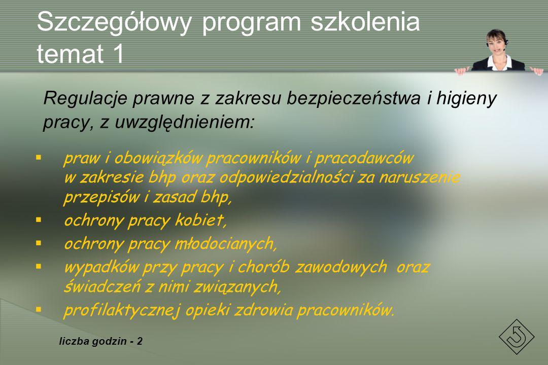 Szczegółowy program szkolenia temat 1 Regulacje prawne z zakresu bezpieczeństwa i higieny pracy, z uwzględnieniem: praw i obowiązków pracowników i pra
