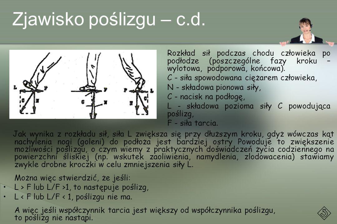 Zjawisko poślizgu – c.d. Jak wynika z rozkładu sił, siła L zwiększa się przy dłuższym kroku, gdyż wówczas kąt nachylenia nogi (goleni) do podłoża jest