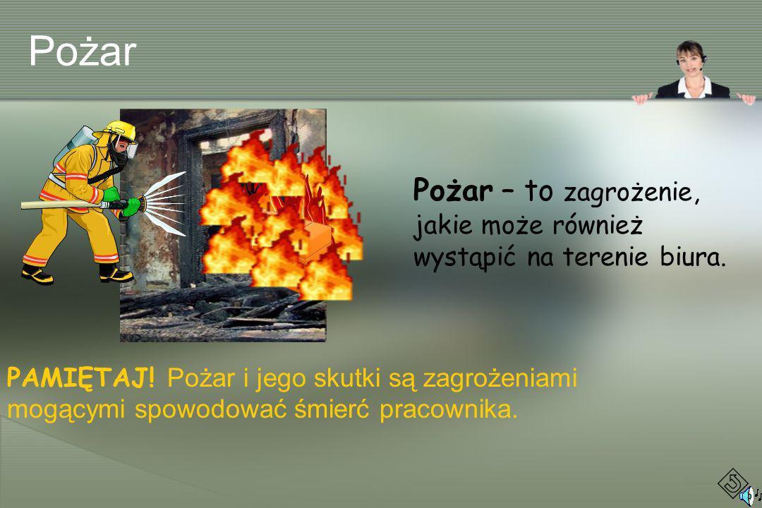 Pożar – to zagrożenie, jakie może również wystąpić na terenie biura. PAMIĘTAJ! Pożar i jego skutki są zagrożeniami mogącymi spowodować śmierć pracowni