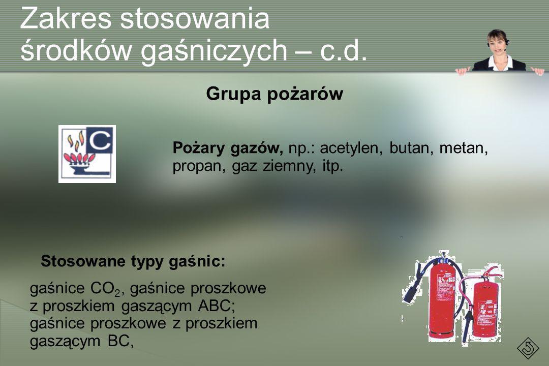 Zakres stosowania środków gaśniczych – c.d. Pożary gazów, np.: acetylen, butan, metan, propan, gaz ziemny, itp. Grupa pożarów Stosowane typy gaśnic: g