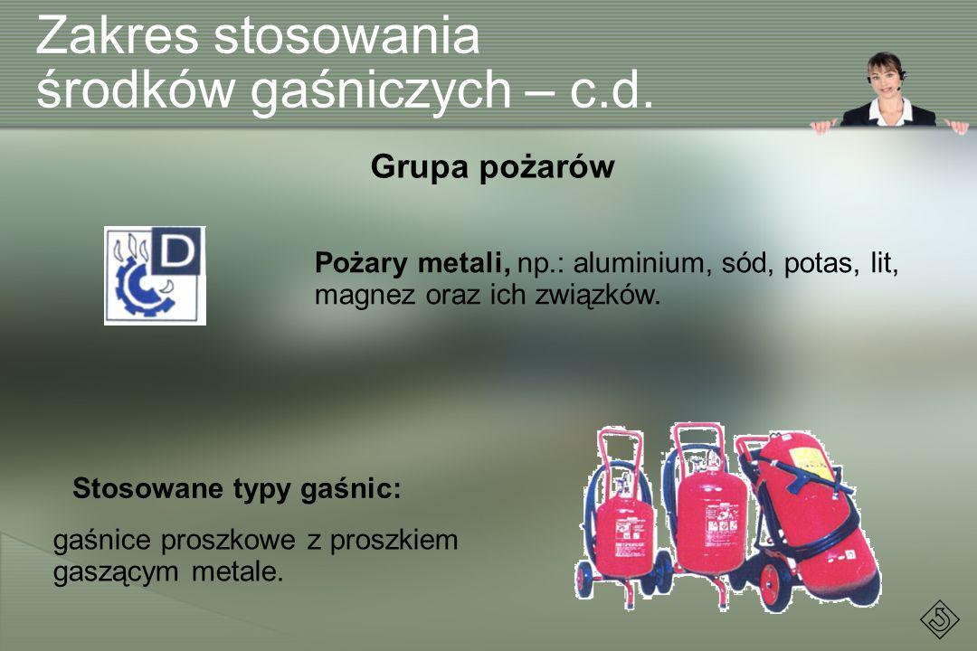 Zakres stosowania środków gaśniczych – c.d. Pożary metali, np.: aluminium, sód, potas, lit, magnez oraz ich związków. Grupa pożarów Stosowane typy gaś