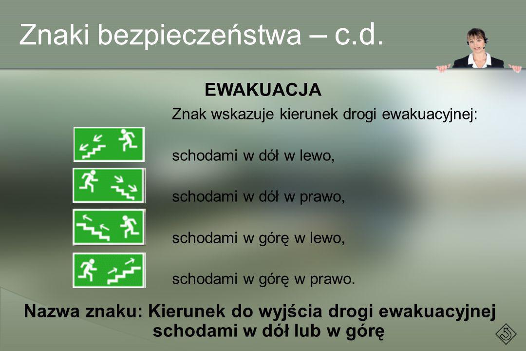 Znak wskazuje kierunek drogi ewakuacyjnej: schodami w dół w lewo, schodami w dół w prawo, schodami w górę w lewo, schodami w górę w prawo. EWAKUACJA N