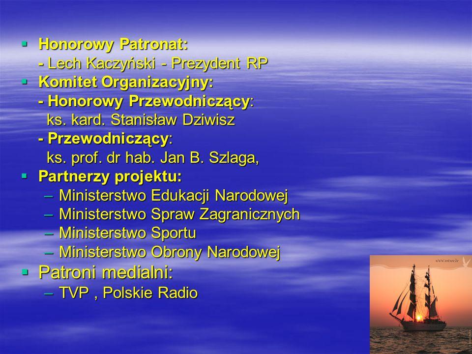 Honorowy Patronat: Honorowy Patronat: - Lech Kaczyński - Prezydent RP - Lech Kaczyński - Prezydent RP Komitet Organizacyjny: Komitet Organizacyjny: - Honorowy Przewodniczący: - Honorowy Przewodniczący: ks.