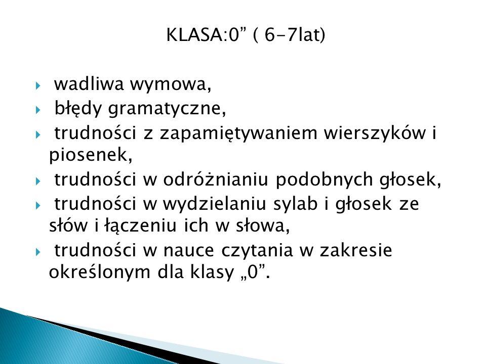 KLASA:0 ( 6-7lat) wadliwa wymowa, błędy gramatyczne, trudności z zapamiętywaniem wierszyków i piosenek, trudności w odróżnianiu podobnych głosek, trudności w wydzielaniu sylab i głosek ze słów i łączeniu ich w słowa, trudności w nauce czytania w zakresie określonym dla klasy 0.