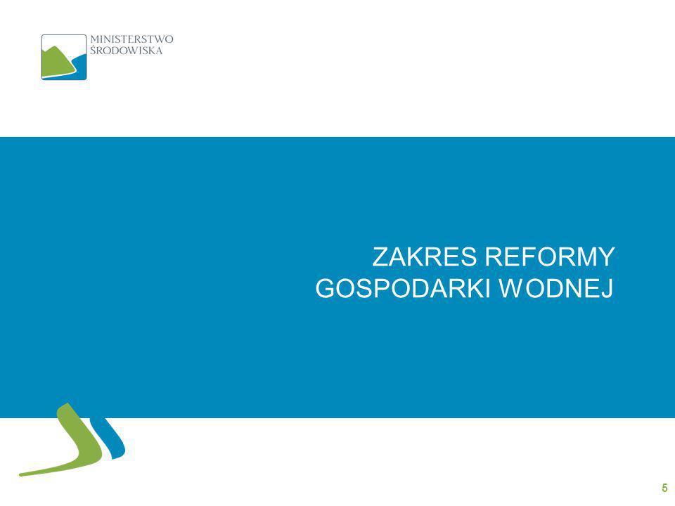 Zakres projektowanej regulacji I - STRUKTURA rozdzielenie kompetencji organów administracji publicznej w zakresie: funkcji administracyjnych i planistycznych Inwestycji oraz utrzymania mienia Skarbu Państwa związanych z gospodarką wodną