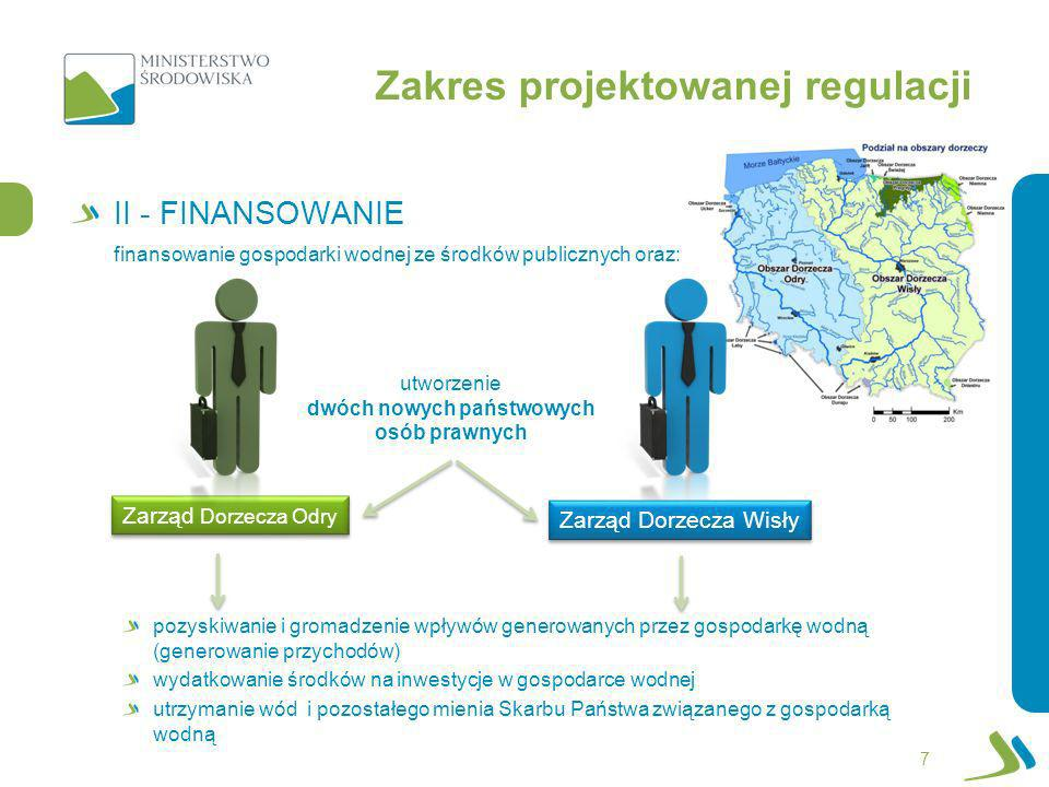 Zakres projektowanej regulacji III - KOMPETENCJE 8 utrzymanie kompetencji w dziedzinie melioracji wodnych Wprowadzenie podziału wód publicznych: wody rządowe wody samorządowe wzmocnienie kompetencji organów jednostek samorządu terytorialnego utrzymanie wód oraz zarządzania mieniem Skarbu Państwa na szczeblu regionalnym Zarząd Dorzecza Odry Zarząd Dorzecza Wisły