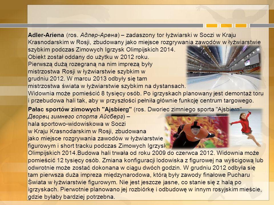 4. Przygotowania do Zimowych Igrzysk Olimpijskich w Sochi Pałac lodowy Bolszoj - hala została oddana do użytku w 2012 roku i może pomieścić 12 tysięcy