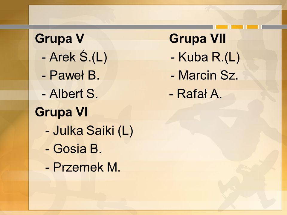 8. Autorzy Grupa I Grupa III - Iza S. - Konrad W. (L) - Ilona K. (Lider) - Sylwia S. - Agnieszka M. - Paweł Sz. Grupa II Grupa IV - Kamila W. (L) - Go