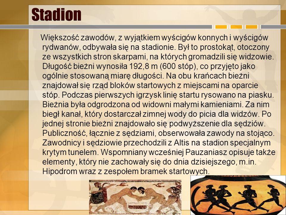 Przebieg igrzysk Dzień pierwszy Wszyscy zawodnicy uczestniczyli w obrzędach ku czci Zeusa i przysięgali wraz z ojcami i swym rodzeństwem, że będą walc