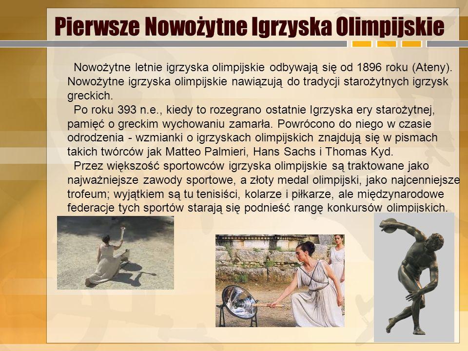 2.Nowożytne Igrzyska Olimpijskie Pierwsze Nowożytne Igrzyska Olimpijskie Dyscypliny Pierre de Coubertin – ojciec nowożytnych igrzysk olimpijskich