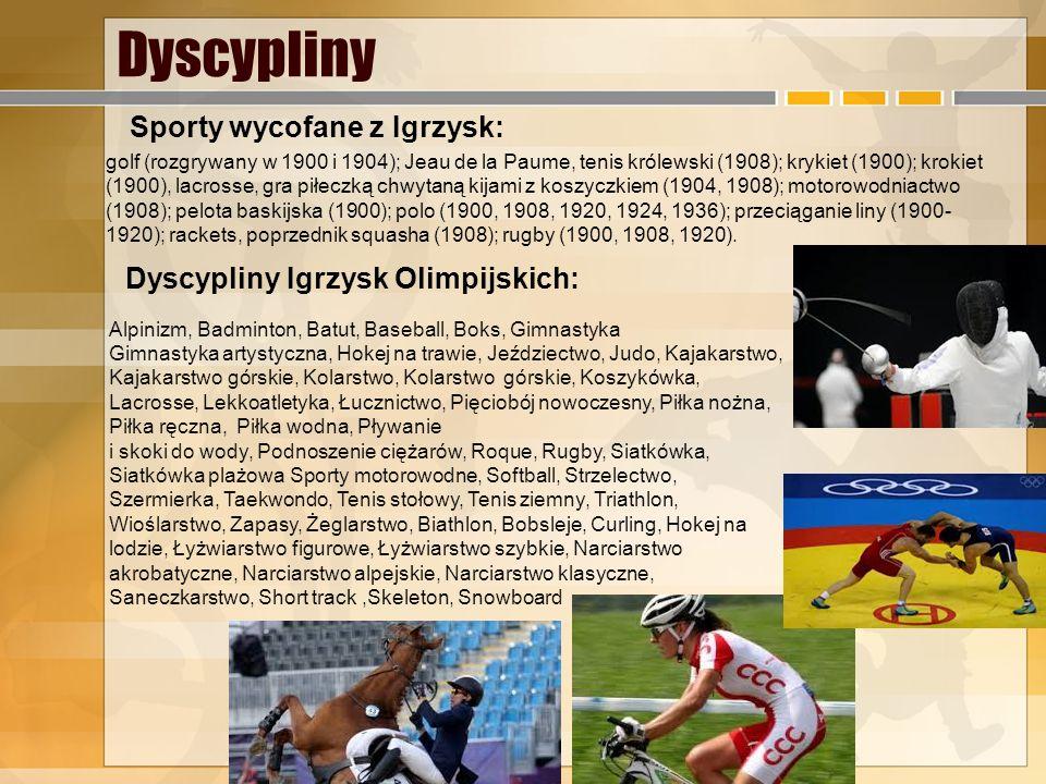 Dyscypliny golf (rozgrywany w 1900 i 1904); Jeau de la Paume, tenis królewski (1908); krykiet (1900); krokiet (1900), lacrosse, gra piłeczką chwytaną kijami z koszyczkiem (1904, 1908); motorowodniactwo (1908); pelota baskijska (1900); polo (1900, 1908, 1920, 1924, 1936); przeciąganie liny (1900- 1920); rackets, poprzednik squasha (1908); rugby (1900, 1908, 1920).