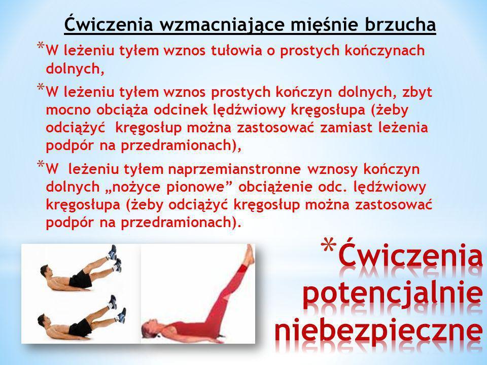 Ćwiczenia wzmacniające mięśnie brzucha * W leżeniu tyłem wznos tułowia o prostych kończynach dolnych, * W leżeniu tyłem wznos prostych kończyn dolnych