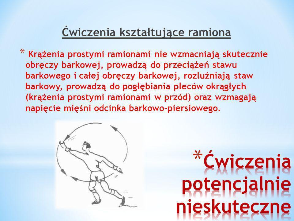 Ćwiczenia kształtujące ramiona * Krążenia prostymi ramionami nie wzmacniają skutecznie obręczy barkowej, prowadzą do przeciążeń stawu barkowego i całe