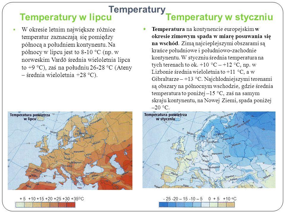 Temperatury Temperatury w lipcu Temperatury w styczniu W okresie letnim największe różnice temperatur zaznaczają się pomiędzy północą a południem kont