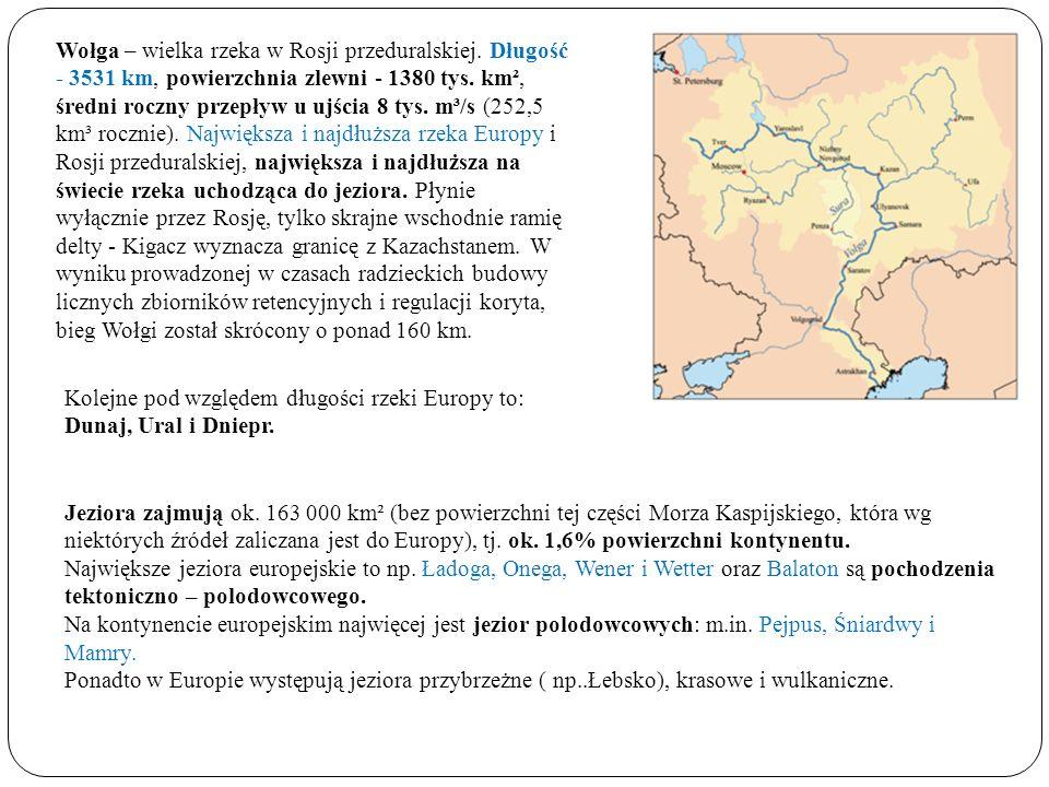Wołga – wielka rzeka w Rosji przeduralskiej. Długość - 3531 km, powierzchnia zlewni - 1380 tys. km², średni roczny przepływ u ujścia 8 tys. m³/s (252,