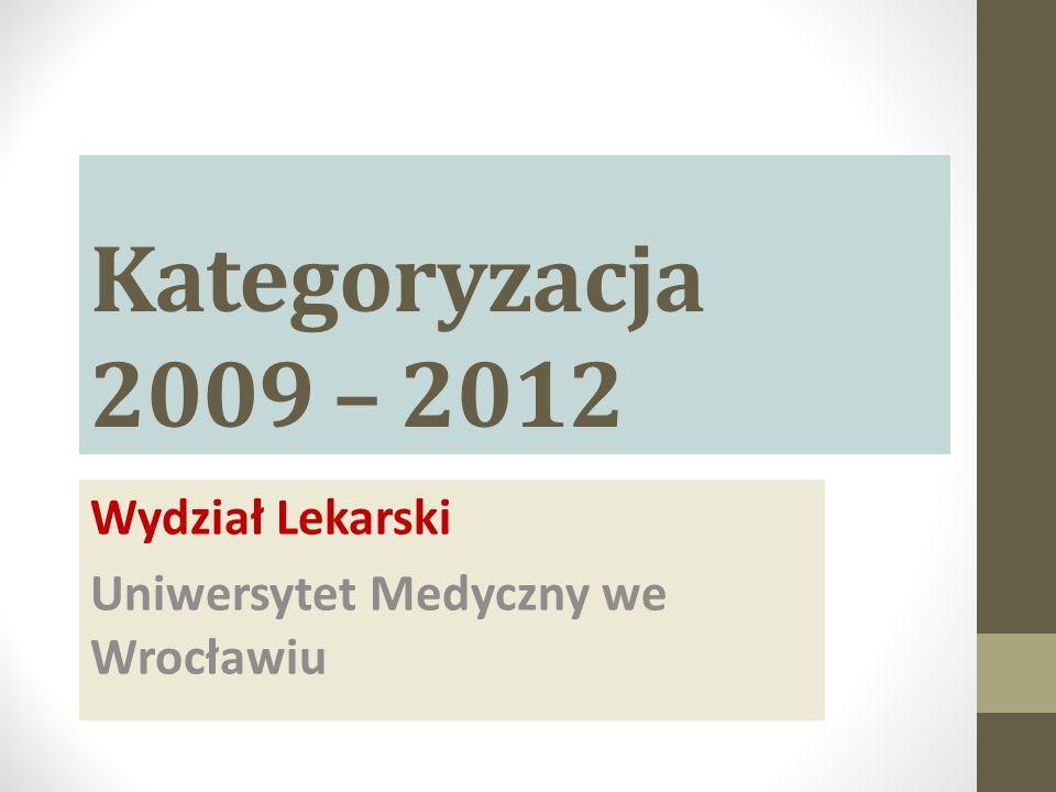 Kategoryzacja 2009 – 2012 Wydział Lekarski Uniwersytet Medyczny we Wrocławiu