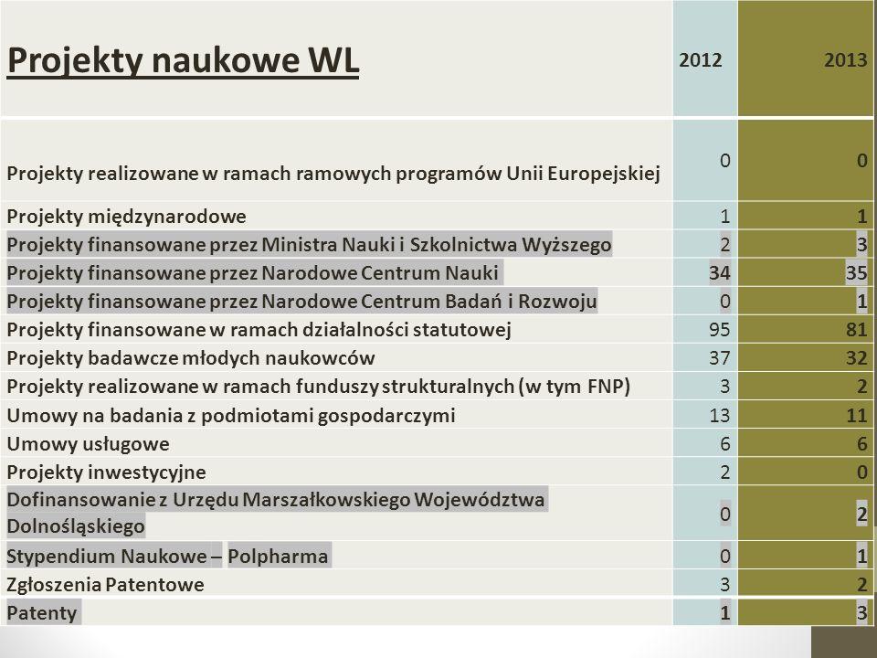 Projekty naukowe WL 20122013 Projekty realizowane w ramach ramowych programów Unii Europejskiej 00 Projekty międzynarodowe11 Projekty finansowane prze