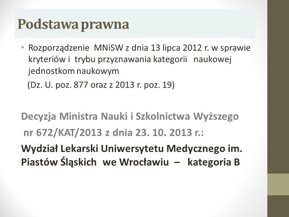 Podstawa prawna Rozporządzenie MNiSW z dnia 13 lipca 2012 r. w sprawie kryteriów i trybu przyznawania kategorii naukowej jednostkom naukowym (Dz. U. p