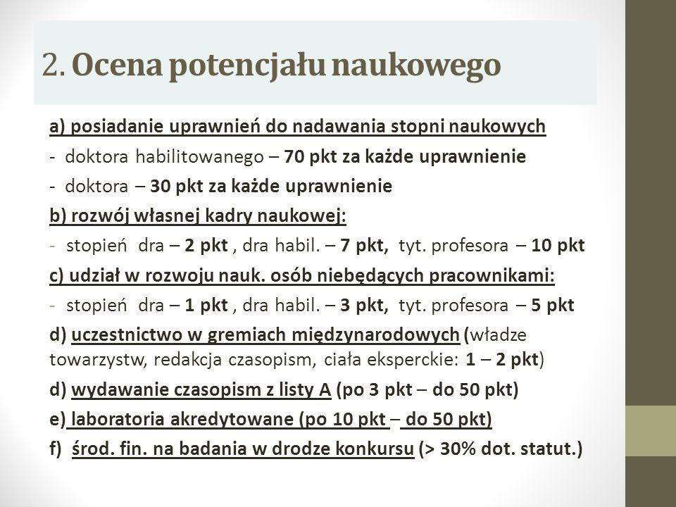 2. Ocena potencjału naukowego a) posiadanie uprawnień do nadawania stopni naukowych - doktora habilitowanego – 70 pkt za każde uprawnienie - doktora –