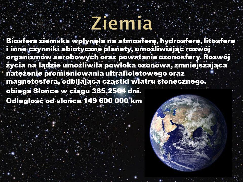 Biosfera ziemska wpłynęła na atmosferę, hydrosferę, litosferę i inne czynniki abiotyczne planety, umożliwiając rozwój organizmów aerobowych oraz powstanie ozonosfery.