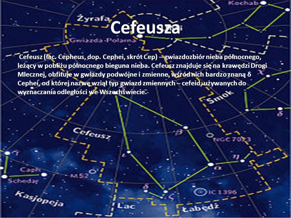 Cefeusza Cefeusz (łac. Cepheus, dop. Cephei, skrót Cep) – gwiazdozbiór nieba północnego, leżący w pobliżu północnego bieguna nieba. Cefeusz znajduje s