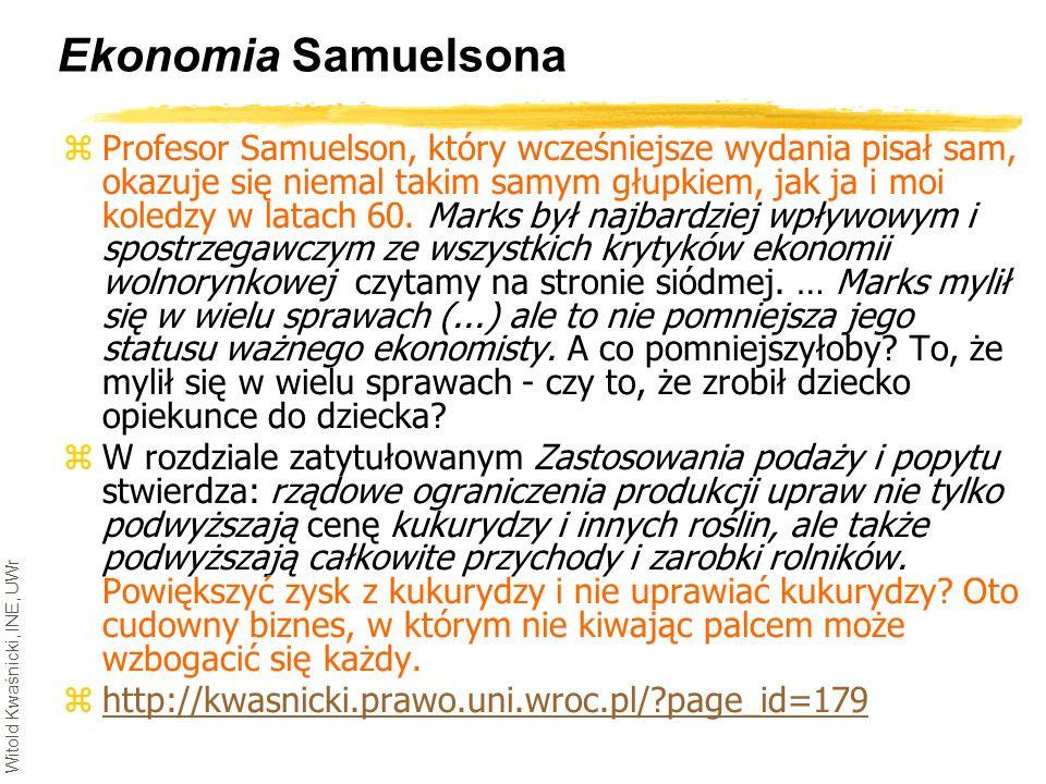 Witold Kwaśnicki, INE, UWr Ekonomia Samuelsona zProfesor Samuelson, który wcześniejsze wydania pisał sam, okazuje się niemal takim samym głupkiem, jak