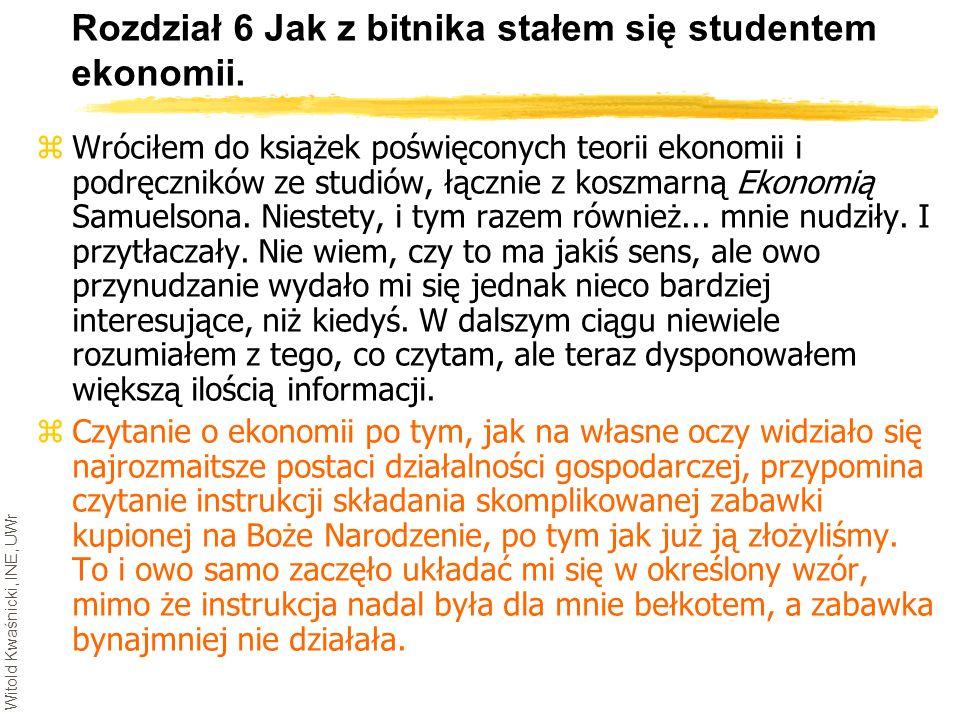 Witold Kwaśnicki, INE, UWr Rozdział 6 Jak z bitnika stałem się studentem ekonomii. zWróciłem do książek poświęconych teorii ekonomii i podręczników ze