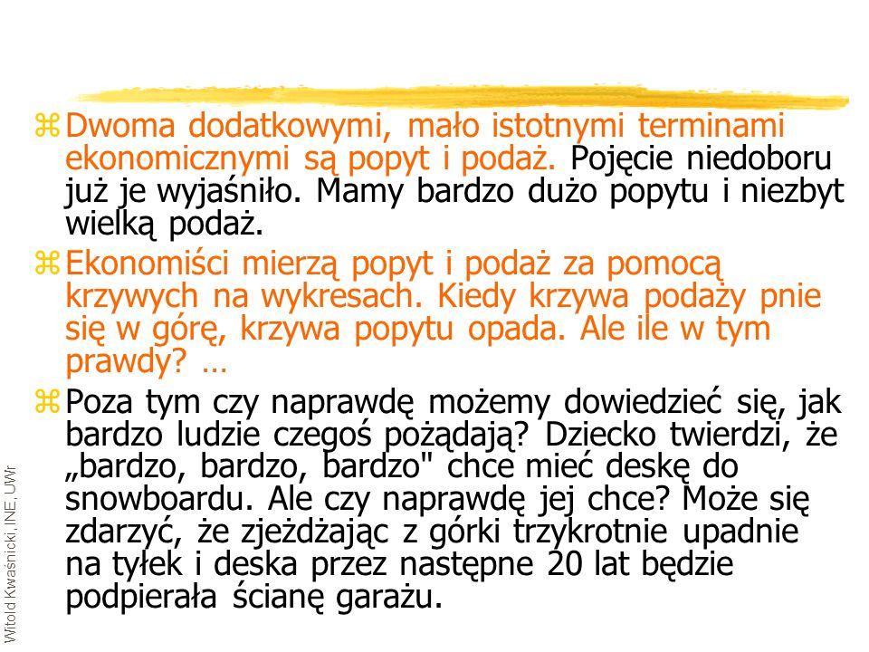 Witold Kwaśnicki, INE, UWr zDwoma dodatkowymi, mało istotnymi terminami ekonomicznymi są popyt i podaż. Pojęcie niedoboru już je wyjaśniło. Mamy bardz
