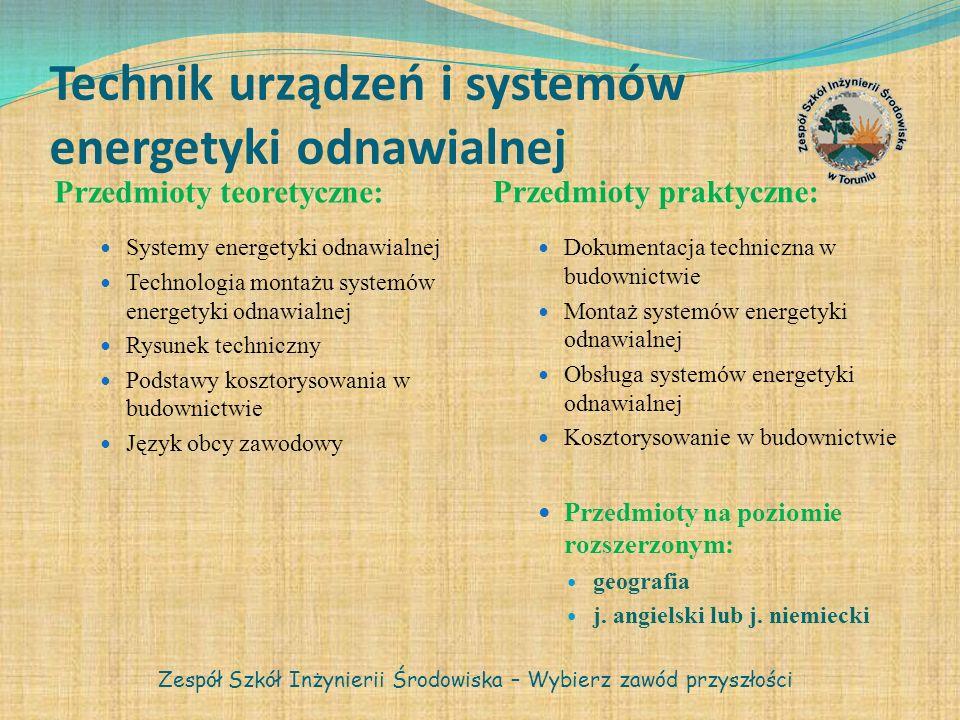 Technik urządzeń i systemów energetyki odnawialnej Przedmioty teoretyczne: Przedmioty praktyczne: Systemy energetyki odnawialnej Technologia montażu s