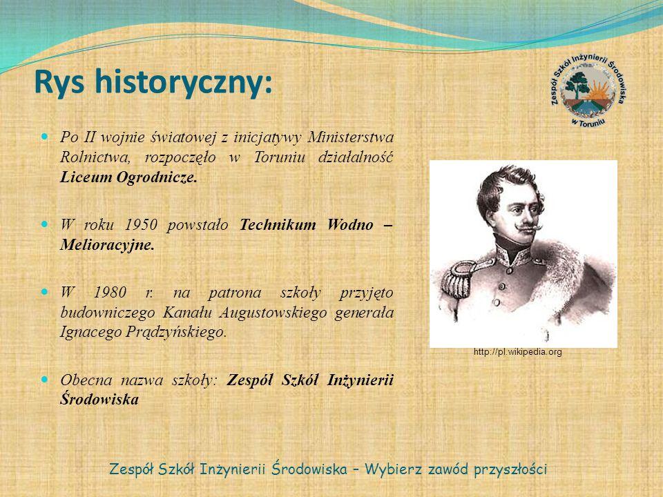 Rys historyczny: Po II wojnie światowej z inicjatywy Ministerstwa Rolnictwa, rozpoczęło w Toruniu działalność Liceum Ogrodnicze. W roku 1950 powstało