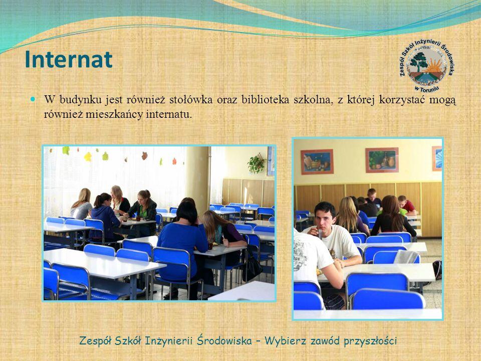 Internat W budynku jest również stołówka oraz biblioteka szkolna, z której korzystać mogą również mieszkańcy internatu. Zespół Szkół Inżynierii Środow