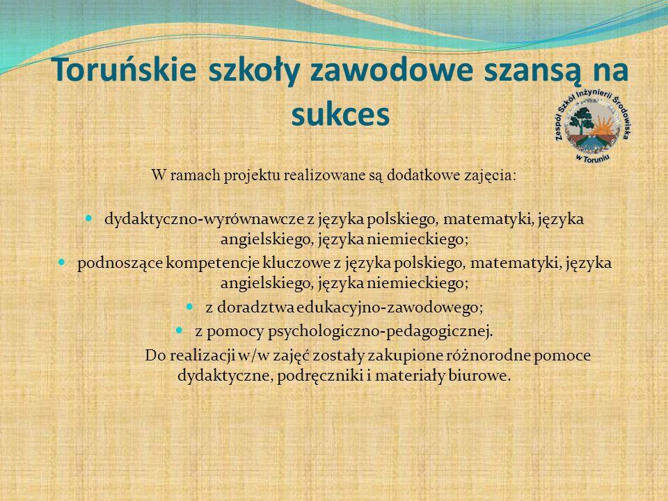 Toruńskie szkoły zawodowe szansą na sukces W ramach projektu realizowane są dodatkowe zajęcia: dydaktyczno-wyrównawcze z języka polskiego, matematyki,