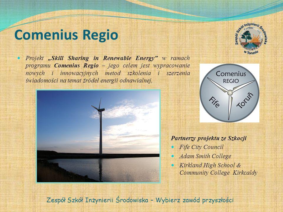 Comenius Regio Projekt Skill Sharing in Renewable Energy w ramach programu Comenius Regio – jego celem jest wypracowanie nowych i innowacyjnych metod