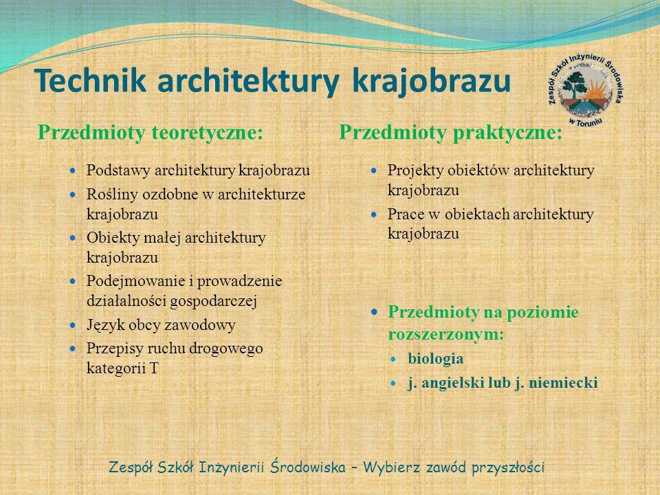 Technik architektury krajobrazu Przedmioty teoretyczne: Przedmioty praktyczne: Podstawy architektury krajobrazu Rośliny ozdobne w architekturze krajob