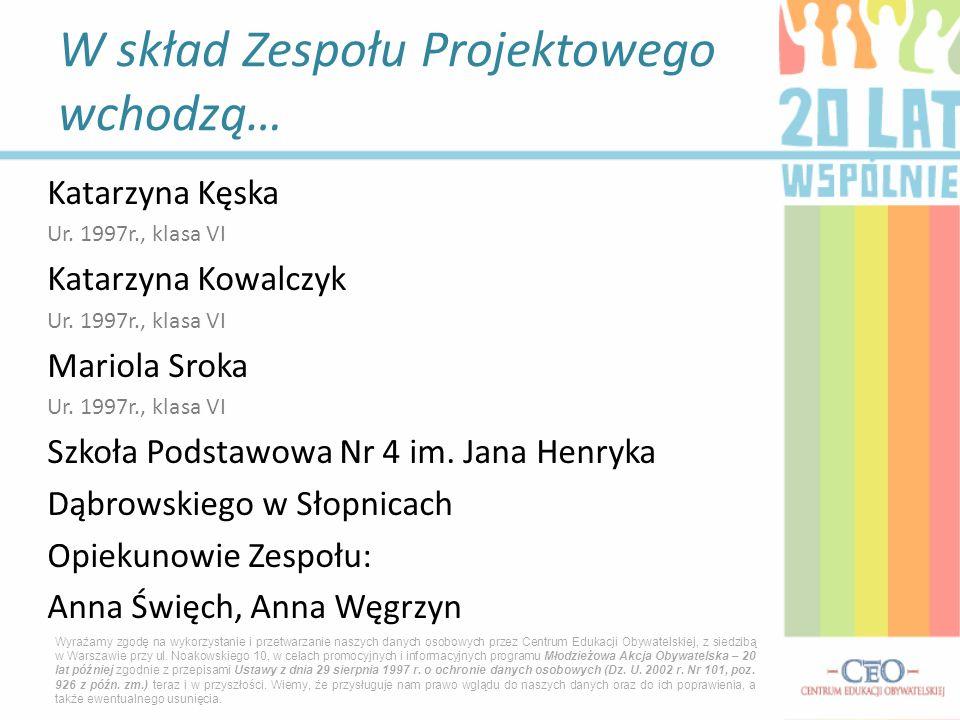 Katarzyna Kęska Ur.1997r., klasa VI Katarzyna Kowalczyk Ur.