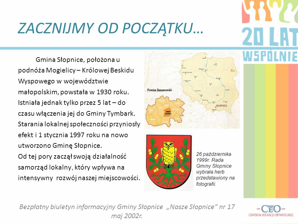 ZACZNIJMY OD POCZĄTKU… Gmina Słopnice, położona u podnóża Mogielicy – Królowej Beskidu Wyspowego w województwie małopolskim, powstała w 1930 roku.