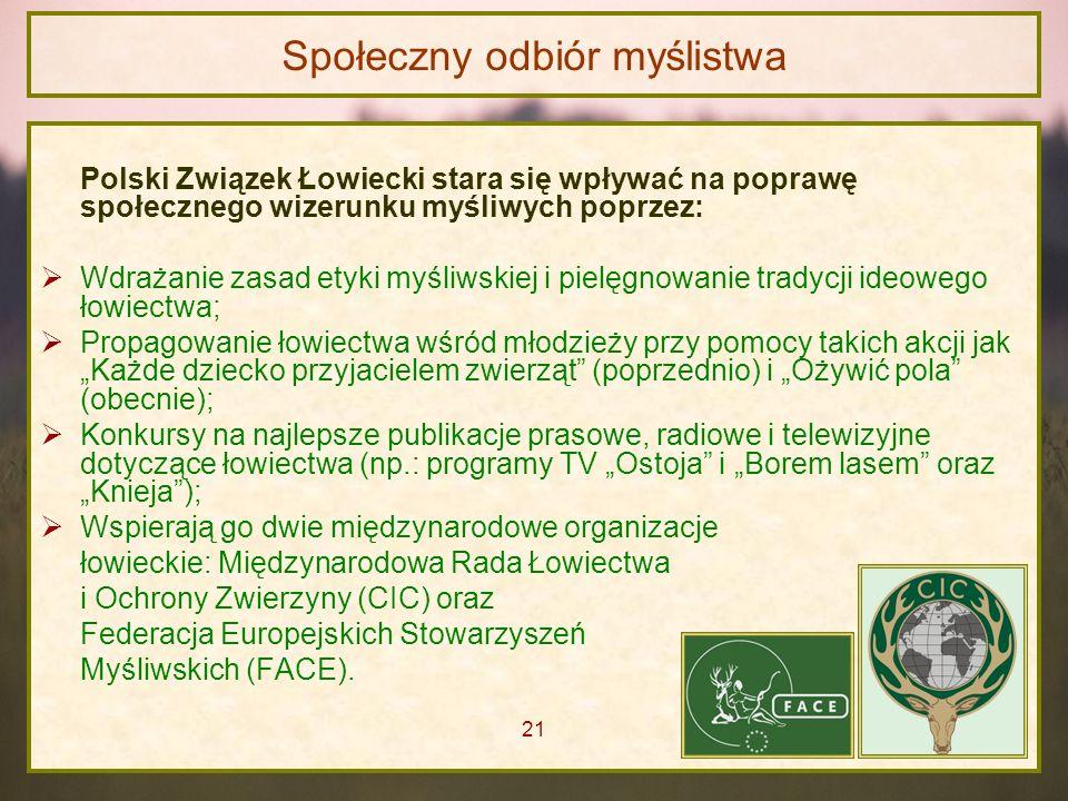 Społeczny odbiór myślistwa Polski Związek Łowiecki stara się wpływać na poprawę społecznego wizerunku myśliwych poprzez: Wdrażanie zasad etyki myśliws