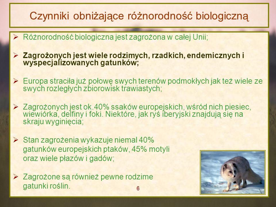 Czynniki obniżające różnorodność biologiczną Różnorodność biologiczna jest zagrożona w całej Unii; Zagrożonych jest wiele rodzimych, rzadkich, endemic