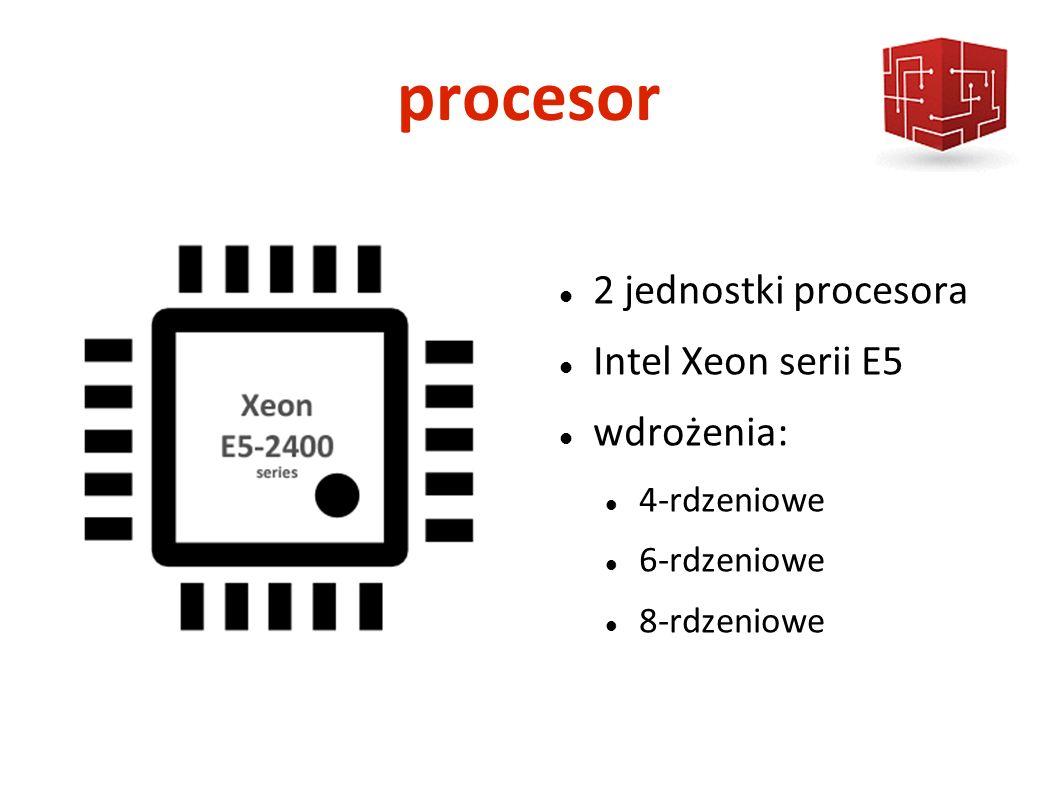 procesor 2 jednostki procesora Intel Xeon serii E5 wdrożenia: 4-rdzeniowe 6-rdzeniowe 8-rdzeniowe