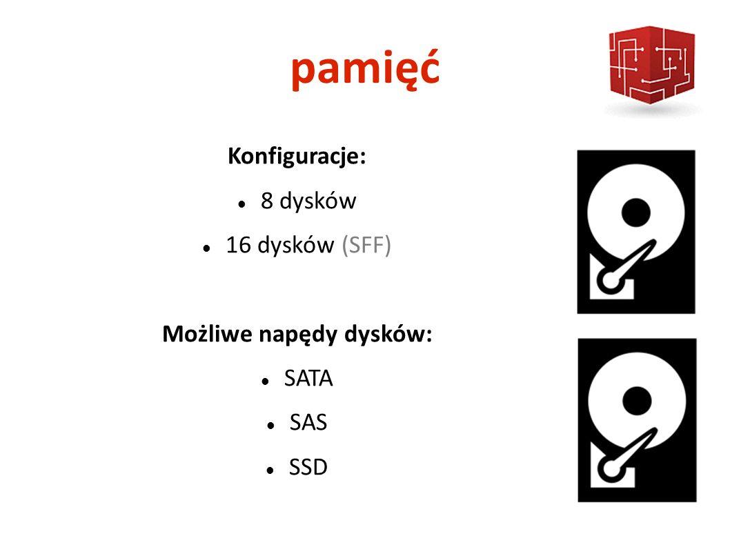 pamięć Konfiguracje: 8 dysków 16 dysków (SFF) Możliwe napędy dysków: SATA SAS SSD