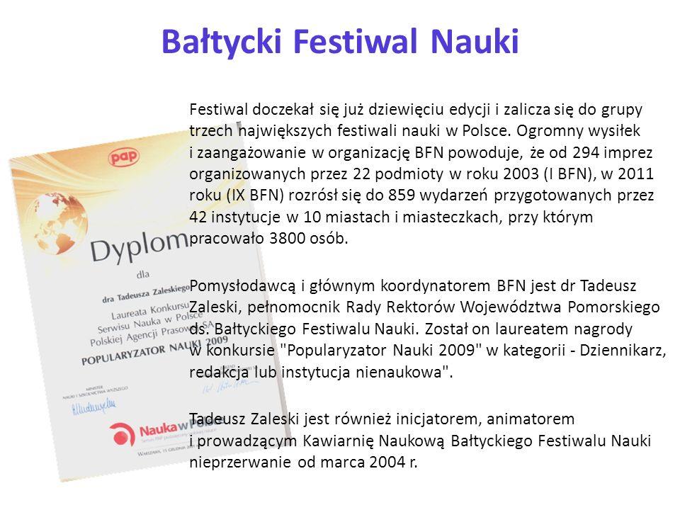 Bałtycki Festiwal Nauki Festiwal doczekał się już dziewięciu edycji i zalicza się do grupy trzech największych festiwali nauki w Polsce. Ogromny wysił