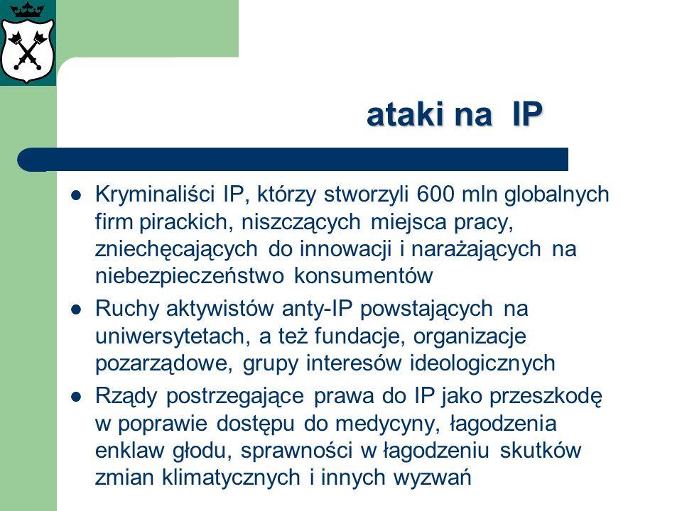 ataki na IP Kryminaliści IP, którzy stworzyli 600 mln globalnych firm pirackich, niszczących miejsca pracy, zniechęcających do innowacji i narażającyc