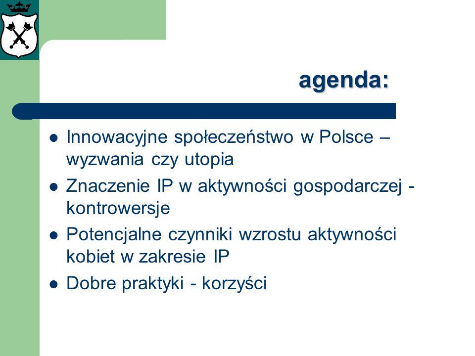 agenda: Innowacyjne społeczeństwo w Polsce – wyzwania czy utopia Znaczenie IP w aktywności gospodarczej - kontrowersje Potencjalne czynniki wzrostu ak