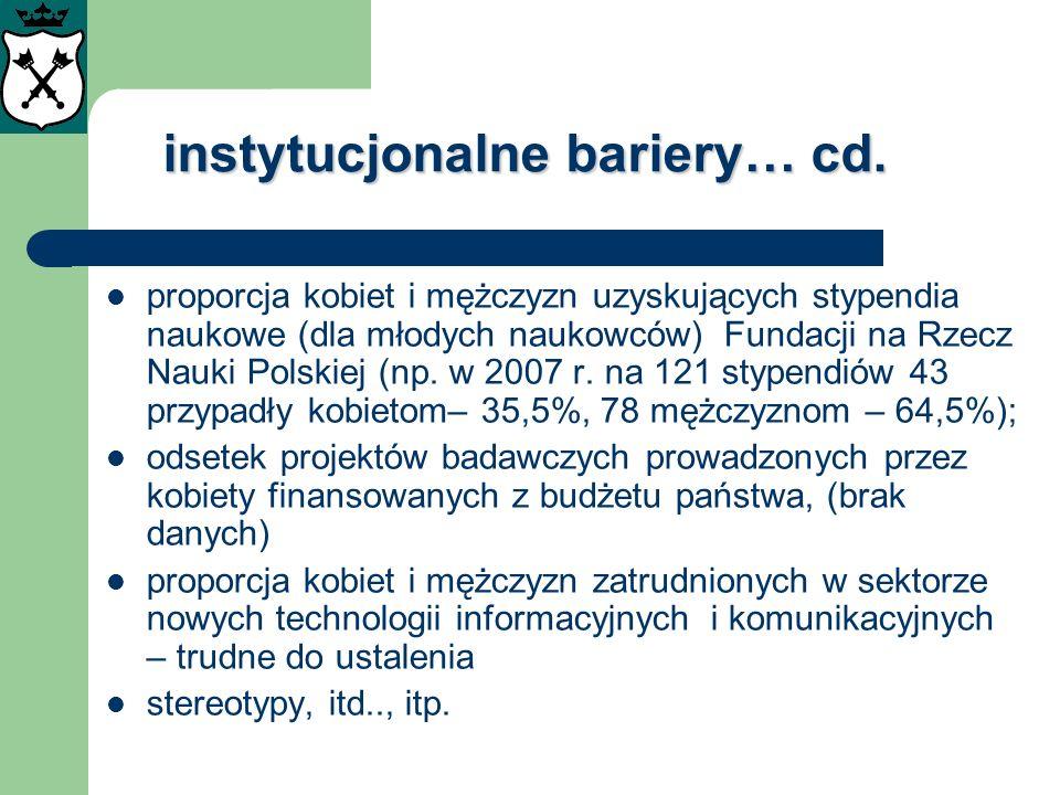 instytucjonalne bariery… cd. proporcja kobiet i mężczyzn uzyskujących stypendia naukowe (dla młodych naukowców) Fundacji na Rzecz Nauki Polskiej (np.