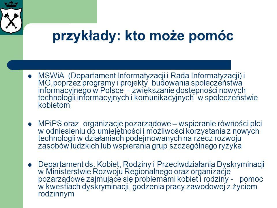 przykłady: kto może pomóc MSWiA (Departament Informatyzacji i Rada Informatyzacji) i MG,poprzez programy i projekty budowania społeczeństwa informacyj