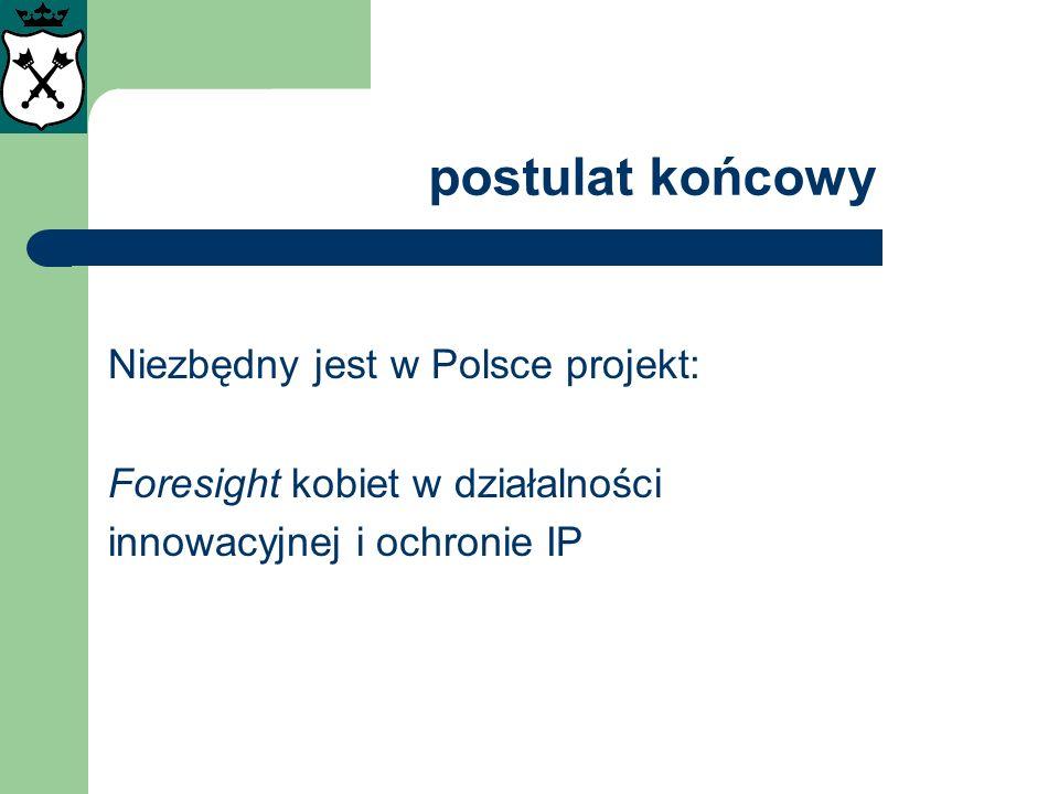 postulat końcowy Niezbędny jest w Polsce projekt: Foresight kobiet w działalności innowacyjnej i ochronie IP