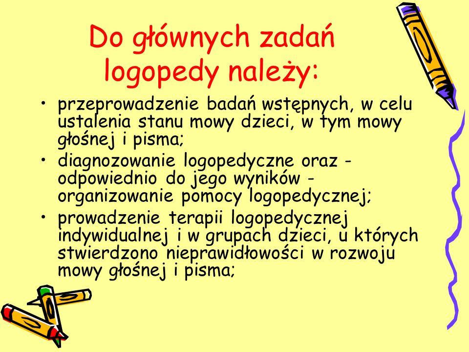 Do głównych zadań logopedy należy: przeprowadzenie badań wstępnych, w celu ustalenia stanu mowy dzieci, w tym mowy głośnej i pisma; diagnozowanie logo