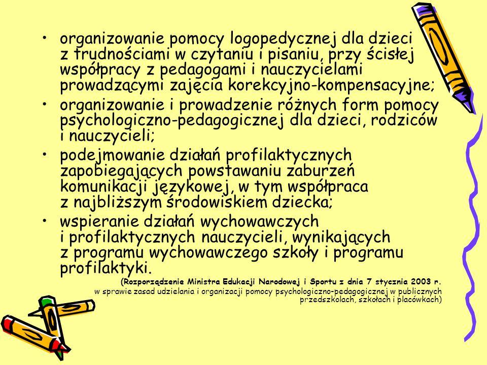 organizowanie pomocy logopedycznej dla dzieci z trudnościami w czytaniu i pisaniu, przy ścisłej współpracy z pedagogami i nauczycielami prowadzącymi z