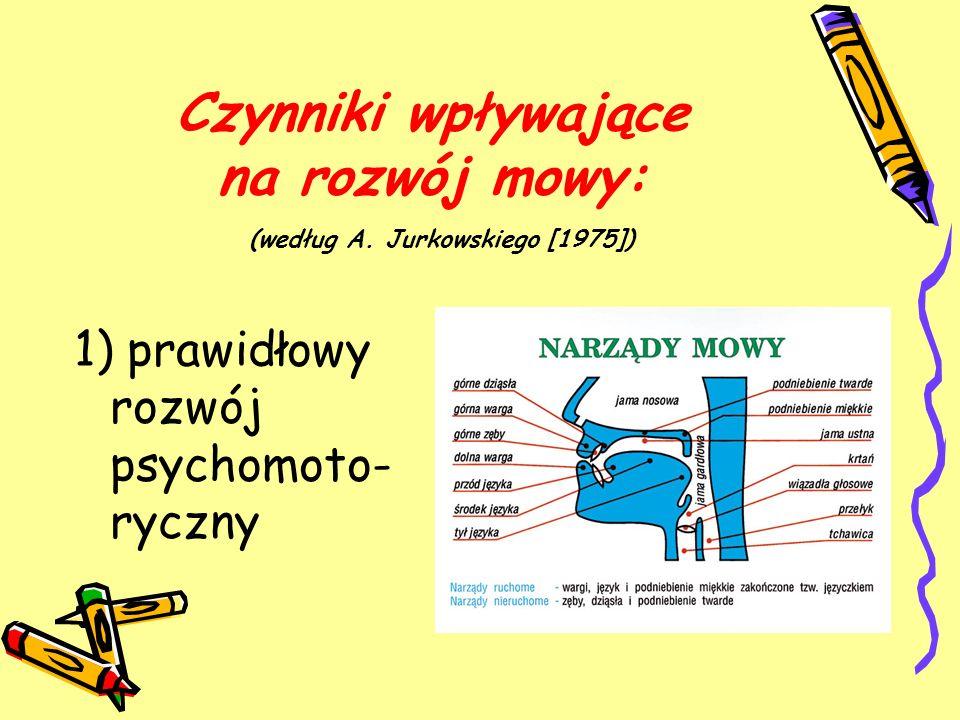 Czynniki wpływające na rozwój mowy: (według A. Jurkowskiego [1975]) 1) prawidłowy rozwój psychomoto- ryczny